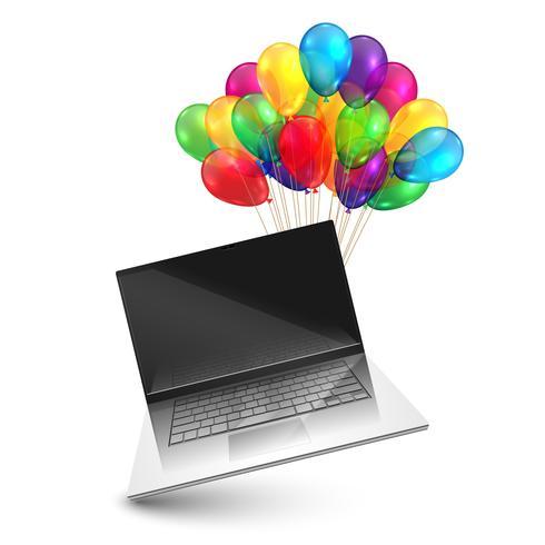 Notizbuch als Geschenk mit bunten Ballonen, Vektor