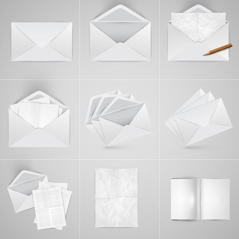 Realistiskt papper och kuvert set, vektor
