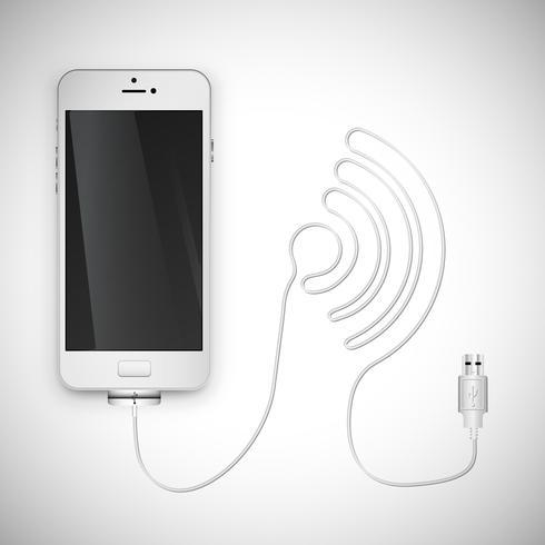 Realistischer Smartphone mit Draht, Vektorillustration vektor