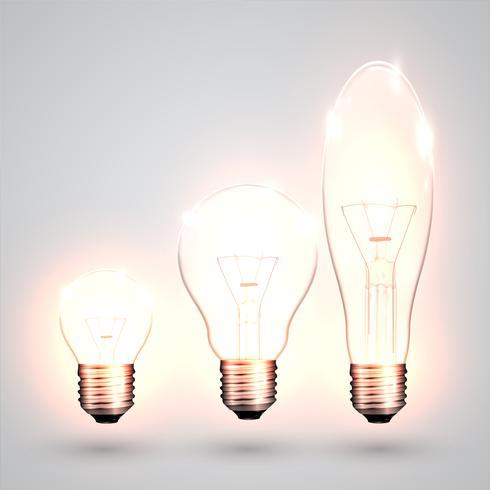 Tre sorters glödlampa, vektor