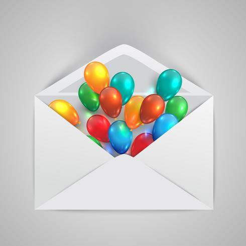 Ett kuvert med färgglada ballonger, vektor