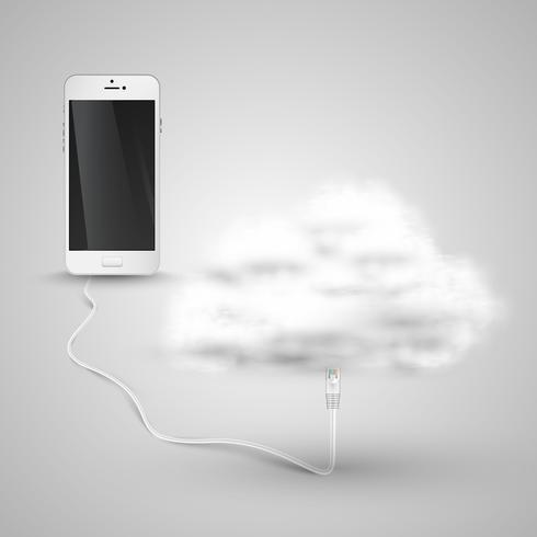 Smartphone verbindet sich mit der Cloud vektor