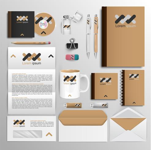 Kontorsverktyg och identitetsdesign, vektor