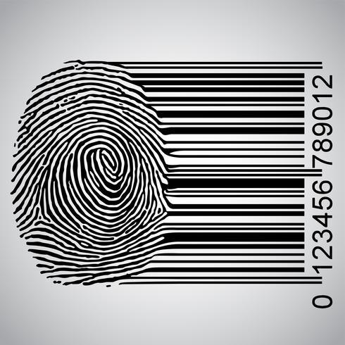 Fingerabdruck, der Barcode-Vektorillustration wird vektor
