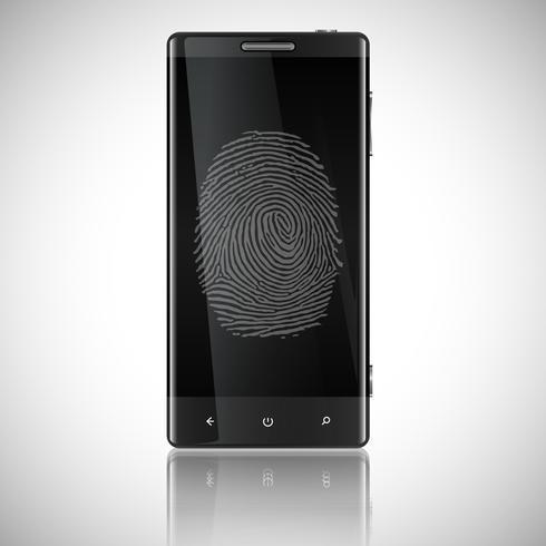 Geschäfts-schwarzes intelligentes Telefon mit Fingerabdruck-Zugriff, Vektor
