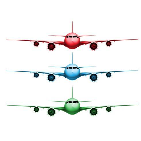 Drei verschiedene farbige realistische Vektorflugzeuge vektor