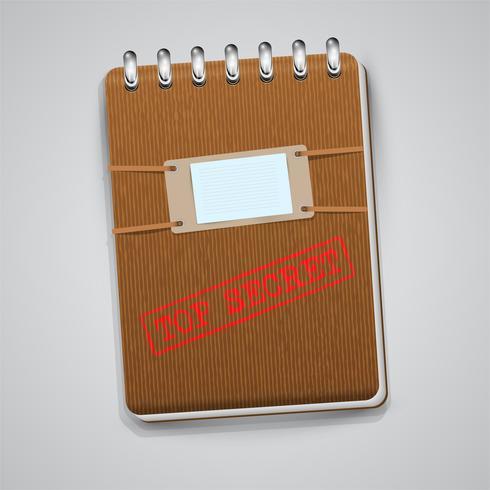 En anteckningsbok med ett varningsskylt, vektor