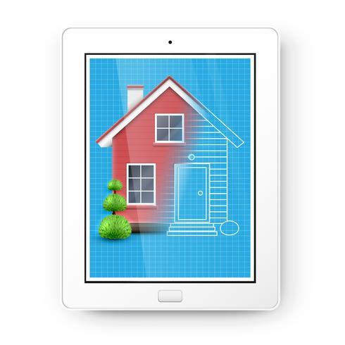 Realistisches Haus mit einem Plan auf einer Tablette, Vektor