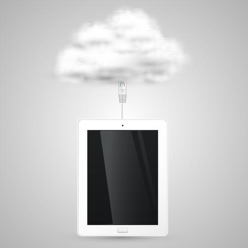 Tablet verbindet sich mit der Cloud vektor
