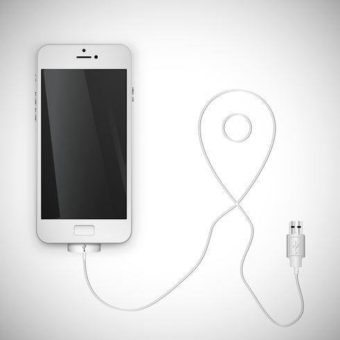 Realistisk smartphone med tråd, vektor illustration