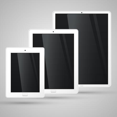 Olika storlekar av en vit tablett, vektor