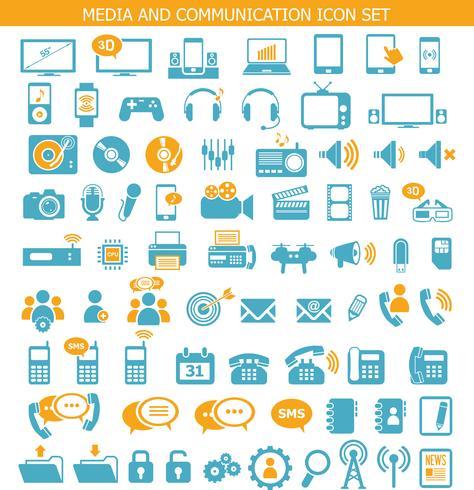 Symbole für Medien und Kommunikation vektor
