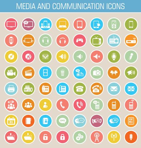 Media och kommunikationsikoner vektor