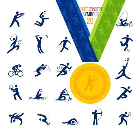 Zwanzig Sportikonen eingestellt. Symbol Sport Konzept Erholung. vektor