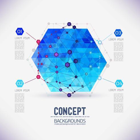 Abstrakt begrepp geometrisk gitter, omfattningen av molekyler, i hexagonen vektor