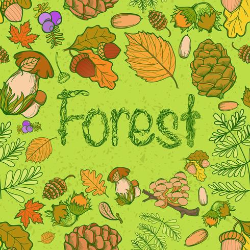 Sömlös färg vilda element i naturen, svamp, knoppar, växter, ekollon, löv. vektor