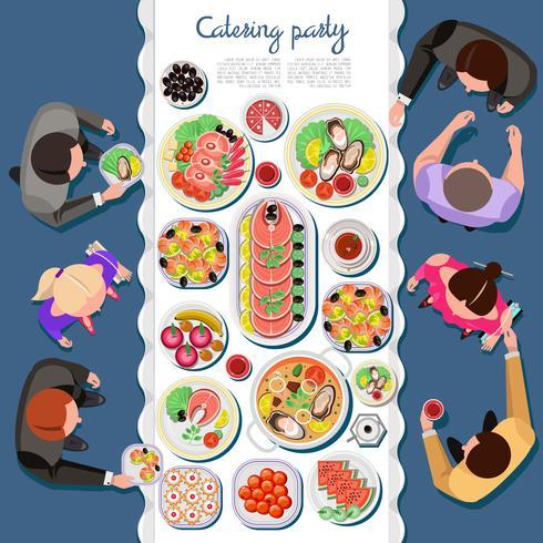 Catering-Party mit Menschen und einem Tisch mit Gerichten aus der Speisekarte, Draufsicht. Flache Vektorillustration. vektor