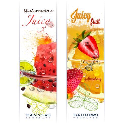 Banner mit Obst in Spritzwasser und Wassertropfen saftige Frucht Wassermelone, Erdbeere, Orange, Kalk, Aquarell, Arbeit des Autors. vektor
