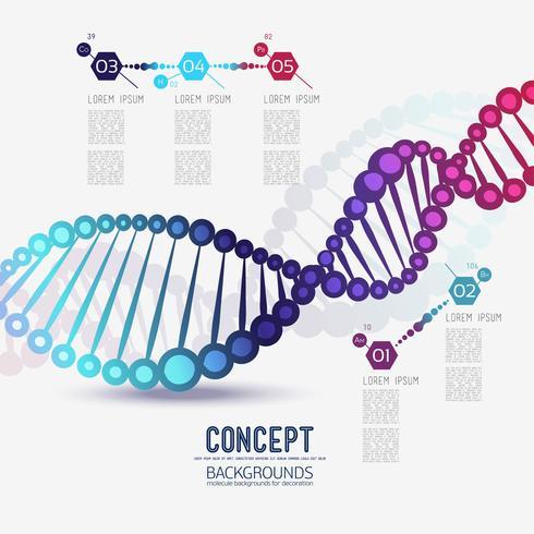 Abstrakt färggeometrisk gitter DNA, omfattningen av molekyler vektor
