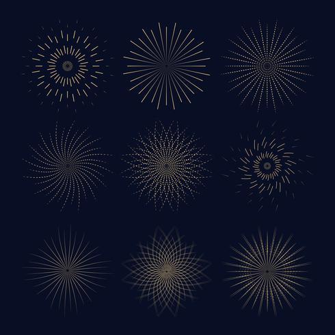 Neun Jahrgang Sunbusrt. Leichte Ray-Kollektion für Ihre. vektor