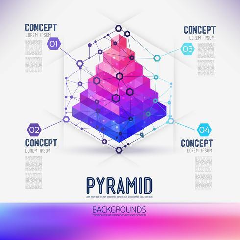 Abstrakt begrepp geometrisk pyramid, omfattningen av molekyler, i hexagonen. vektor