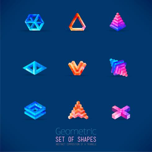 Set med färg abstrakta geometriska figurer samlade från en triangel. vektor