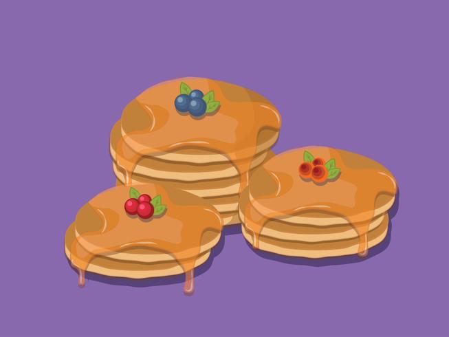 Pfannkuchen getrennt auf purpurrotem Hintergrund vektor