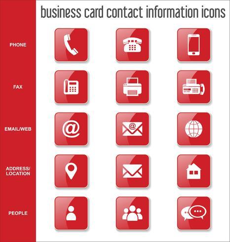 Visitkort kontaktinformation ikoner samling vektor