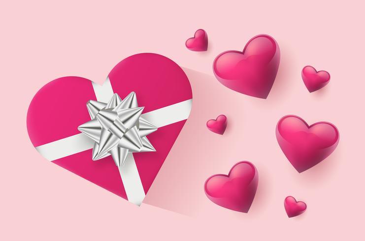 Festliche Tapete verziert mit Herzen und Geschenken. Vektor-Illustration vektor