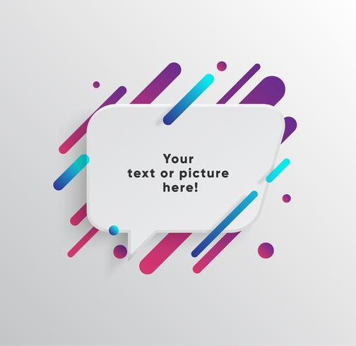 Vector Hintergrund mit Papierkarte und abstrakten bunten Formen