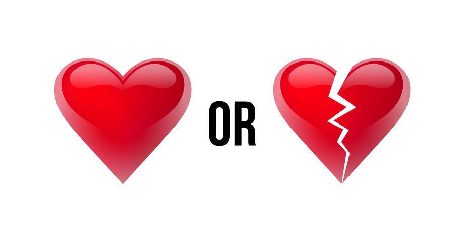 Älskar du mig? Ja eller nej? Hjärta och brutet hjärta. Isolerad i vit bakgrund. Vektor illustration