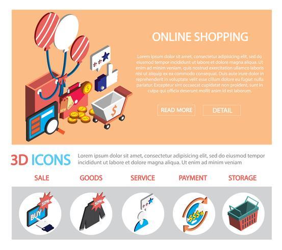 Illustration des grafischen on-line-Einkaufssatzes der Informationen eingestellt vektor
