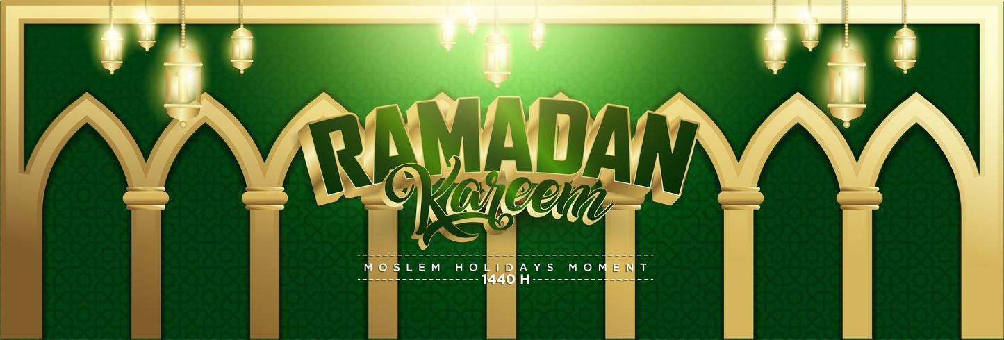 Grön & Guld Ramadan Kareem Bakgrund 1440 Hijr med Ramadan Kareem 3d Lettering Text vektor