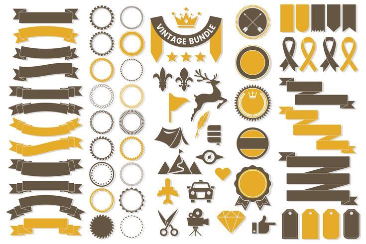 Band-Weinlese-Vektor-Logo für Fahne vektor