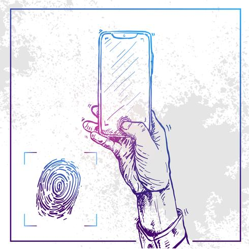 Illustration av Hand som håller en telefon och gör fingeravtryck vektor