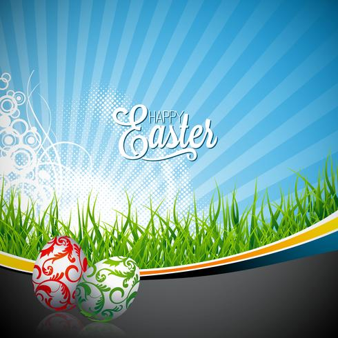 Vector Ostern-Feiertags-Illustration mit gemalten Eiern auf Frühlingshintergrund.