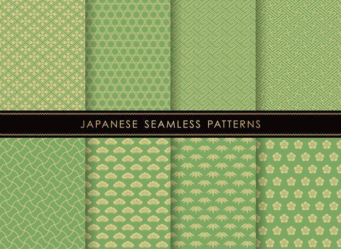 Sats av japanska traditionella, sömlösa mönster. vektor