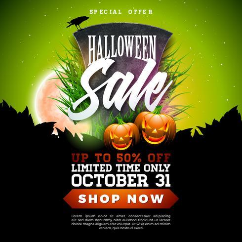 Halloween försäljning banner illustration vektor