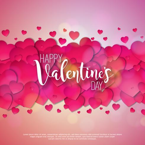Happy Valentines Day Design mit roten Herzen vektor