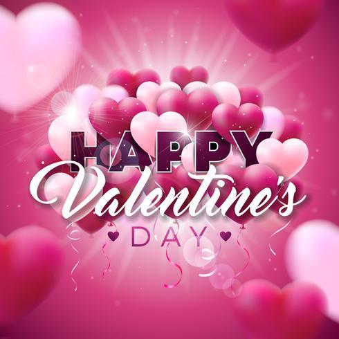 Valentinsgruß-Tagesdesign mit roten Ballonen vektor
