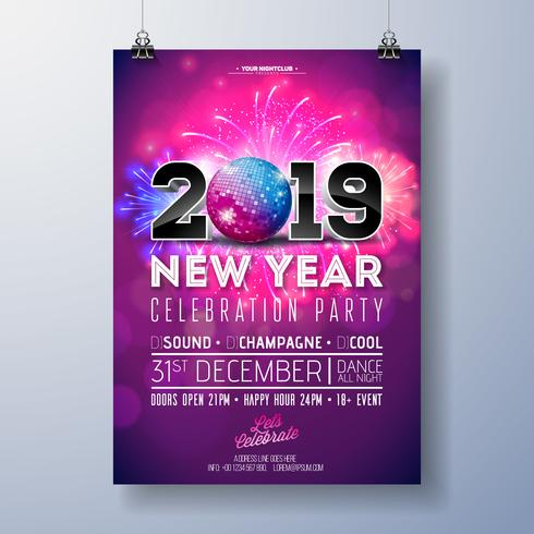 New Year Party Celebration Poster Template Illustration vektor