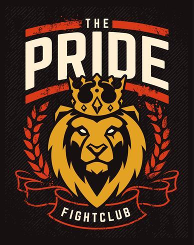 Emblemdesign med Lion i kronan vektor