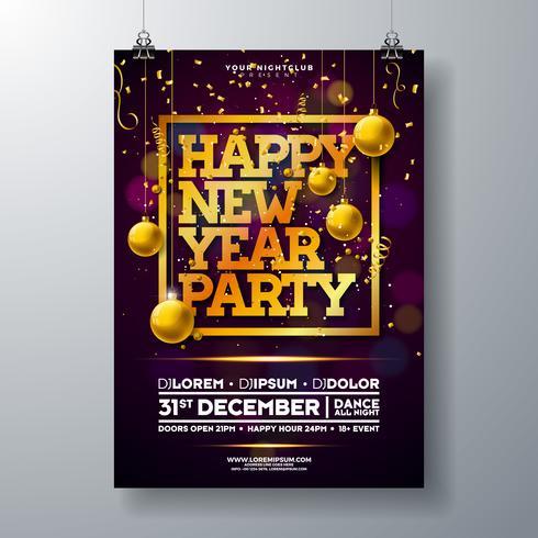 Partei-Feier-Plakat-Schablonen-Illustration des neuen Jahres vektor