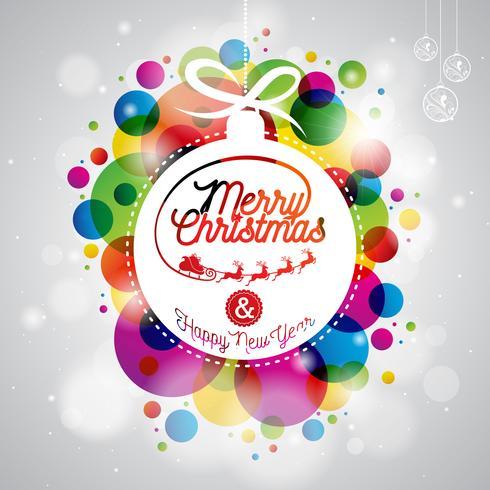 God jul helgdag illustration med abstrakta glasbollar vektor