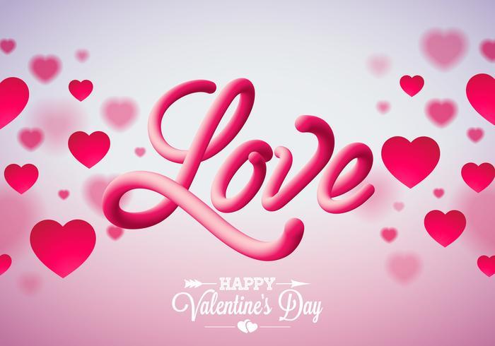 Valentinsgruß-Tagesentwurf mit roten Herzen und Liebe vektor