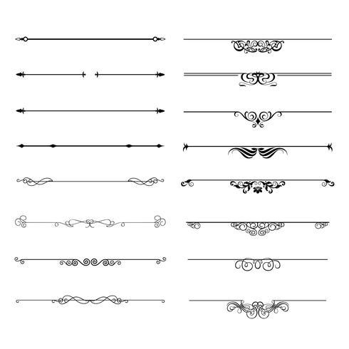 Blomningar kalligrafiska prydnadsföremål och ramar. vektor