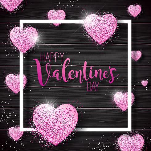Glücklicher Valentinstag mit rosa funkelnden Herzen vektor