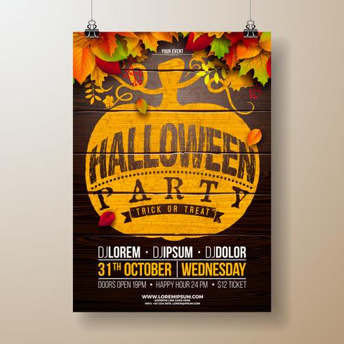 Halloween Party flyer illustration med höstlöv vektor
