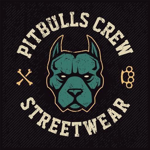 pitbull mascot emblem design vektor