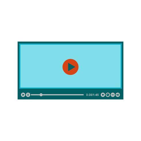 Flache multi Farbsymbol des Video-Players vektor